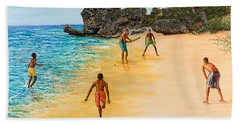 Beach Cricket Hand Towel by Victor Collector