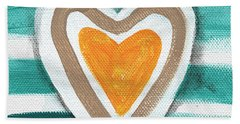 Beach Glass Hearts Hand Towel