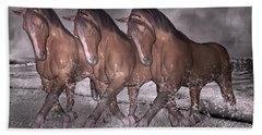 Beach Horse Trio Night March Hand Towel