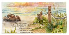 Beach Post Sunrise Psalm 139 Bath Towel