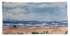 Beach Scene On Galveston Island Hand Towel
