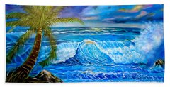 Hand Towel featuring the painting Beach Sunset In Hawaii by Jenny Lee