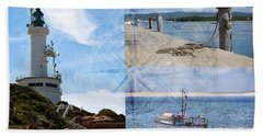 Beach Triptych 2 Bath Towel by Linda Lees