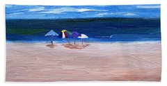 Hand Towel featuring the painting Beach Umbrellas by Jamie Frier