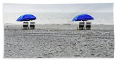 Beach Umbrellas On A Cloudy Day Hand Towel