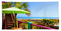 Beach View Of The Ocean By Jan Marvin Studios Bath Towel