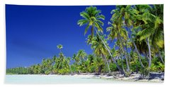 Beach With Palm Trees, Bora Bora, Tahiti Bath Towel