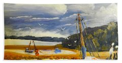 Beached Boat And Fishing Boat At Gippsland Lake Hand Towel