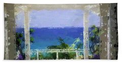 Hand Towel featuring the digital art Beachfront Oasis by Anthony Fishburne