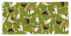 Beagle Scatter Green Bath Towel