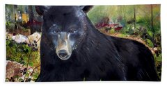 Bath Towel featuring the painting Bear Painting - Blackberry Patch - Wildlife by Jan Dappen