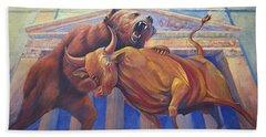 Bear Vs Bull Hand Towel by Rob Corsetti