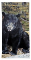 Bath Towel featuring the painting Bear - Wildlife Art - Ursus Americanus by Jan Dappen