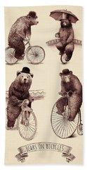 Bears On Bicycles Hand Towel