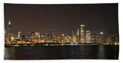 Beautiful Chicago Skyline With Fireworks Hand Towel by Adam Romanowicz