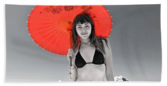 Beautiful Freckle Faced Model  At The Beach Altered Version Hand Towel by Jim Fitzpatrick