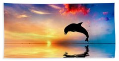 Beautiful Ocean And Sunset With Dolphin Jumping Bath Towel