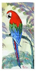 Bath Towel featuring the painting Beautiful Parrot For Someone Special by Phyllis Kaltenbach