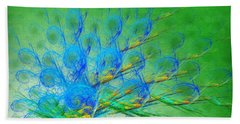 Bath Towel featuring the digital art Beautiful Peacock Abstract 1 by Andee Design