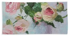 Beautiful Roses Oil Palette Knife Painting Hand Towel by Chris Hobel