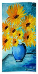Beautiful Sunflowers In Blue Vase Bath Towel by Ramona Matei
