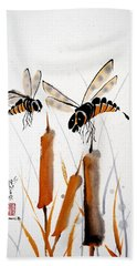 Bee-ing Present Bath Towel by Bill Searle