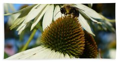 Bath Towel featuring the photograph Bee On A Cone Flower by Lingfai Leung