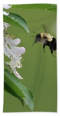 Bee With Apple Blossoms Bath Towel