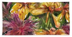 Beebalm And Heliopsis Hand Towel by Judith Levins
