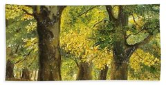 Bath Towel featuring the painting Beeches In The Park by Sorin Apostolescu