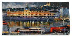 Before The Storm - View On Hotel Dieu Lyon And The Rhone France Hand Towel