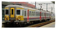 Belgium Railways Commuter Train At Brugge Railway Station Hand Towel