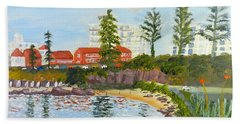 Hand Towel featuring the painting Belmore Basin From The North Sea Wall by Pamela  Meredith