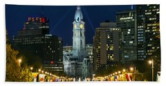 Ben Franklin Parkway And City Hall Hand Towel