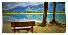 Bench View At Lake Edith Hand Towel