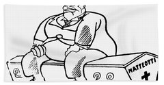 Benito Mussolini Cartoon Bath Towel