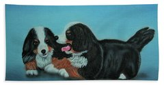 Bernese Mountain Puppies Hand Towel