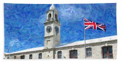 Hand Towel featuring the photograph Bermuda Clocktower by Verena Matthew