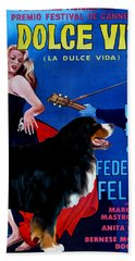 Bernese Mountain Dog Art Canvas Print - La Dolce Vita Movie Poster Hand Towel