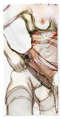 Bath Towel featuring the painting Beth's Pretty Dress by Carolyn Weltman