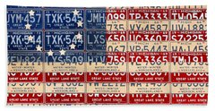 Betsy Ross Flag Recycled Michigan License Plate Vintage Art Hand Towel