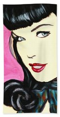 Hand Towel featuring the painting Bettie Page Pop Art Painting by Bob Baker
