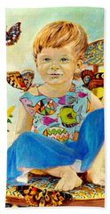 Hand Towel featuring the painting Bianka And Butterflies by Henryk Gorecki