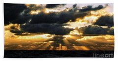 Crepuscular Biblical Rays At Dusk In The Gulf Of Mexico Hand Towel