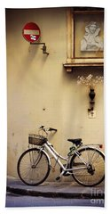 Bicycle And Madonna Hand Towel by Valerie Reeves