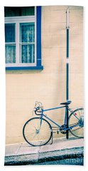 Bicycle On The Streets Of Old Quebec City Hand Towel by Edward Fielding
