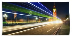 Bath Towel featuring the photograph Big Ben And A Bus by Jeremy Hayden