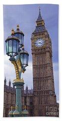 Big Ben And Lampost Hand Towel by Simon Kayne