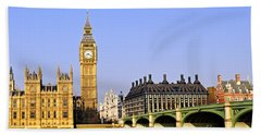 Big Ben And Westminster Bridge Hand Towel by Elena Elisseeva