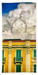 Bath Towel featuring the photograph Big Cloud Over City Building by Silvia Ganora